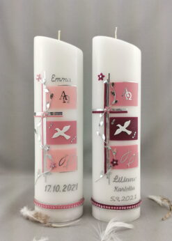 aufkerze Kreuz mit Blütenranke rosa