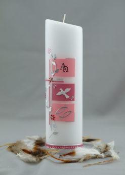 "Taufkerze ""Kreuz mit Blütenranke"" rosa"