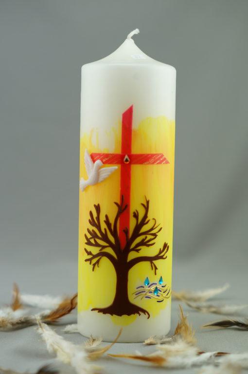 """Taufkerze """"Kreuz und Baum"""""""