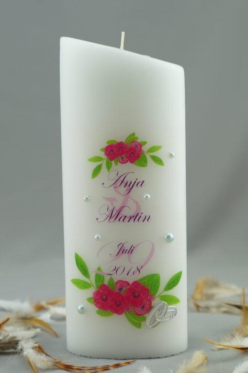 """Hochzeitskerze """"Blumenbordüre pink"""""""