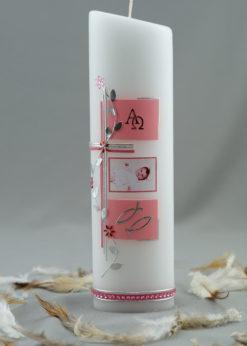 "Fotokerze ""Kreuz mit Blütenranke"" rosa"