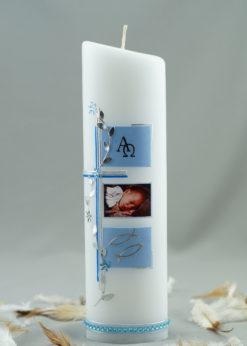 "Fotokerze ""Kreuz mit Blütenranke"" blau"