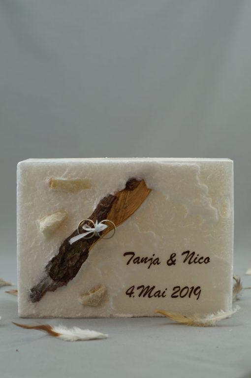 "Hochzeitskerze ""Holz mit Ringe"""