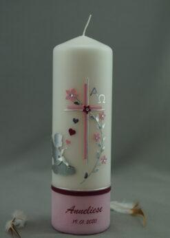 Engel mit Blumenranke rosa