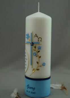 Taufspruch mit Blumenranke blau