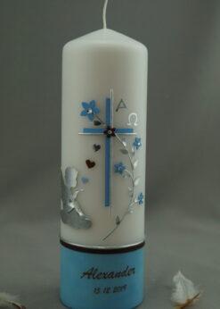 Engel mit Blumenranke blau