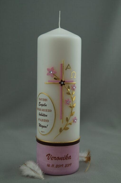 Taufspruch mit Blumenranke rosa